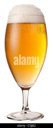 Frosty glass of light beer isolated on a white background. File contains a path to cut. - Stock Image