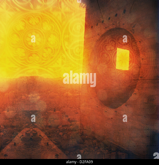 Odd ruin with round and square window. Mandala overlay. Photo based illustration. - Stock Image