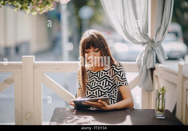 girl with phone - Stock Image