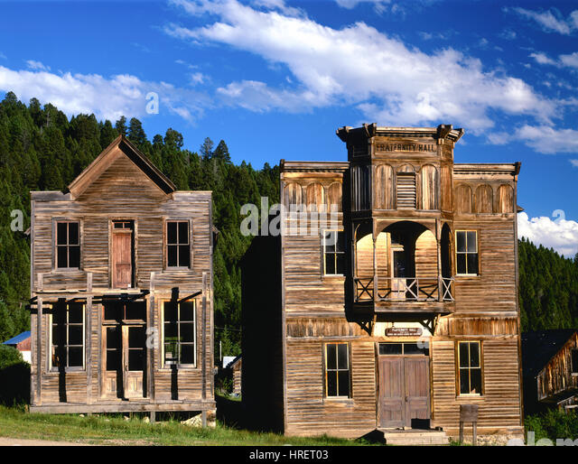 Meeting halls, Elkhorn GHost Town, MOntana Elkhorn State Park, Deerlodge National Forest, Silver mining town from - Stock-Bilder