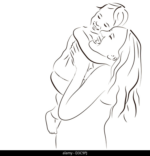 Hand drawn silhouette of mother and a baby - Stock-Bilder
