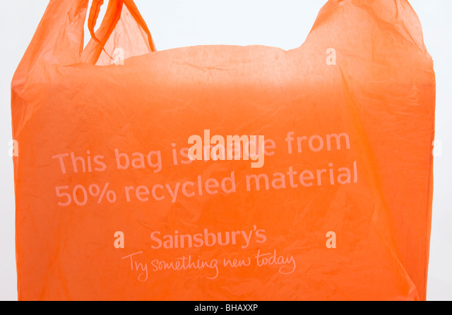 Sainsbury's plastic carrier bag made from 50% recycled materials. England, UK, Britain - Stock Image