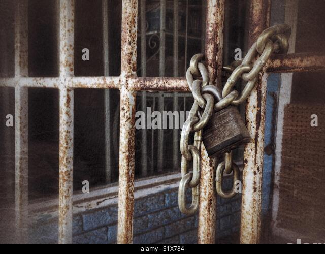Lock, chains and bars - Stock Image
