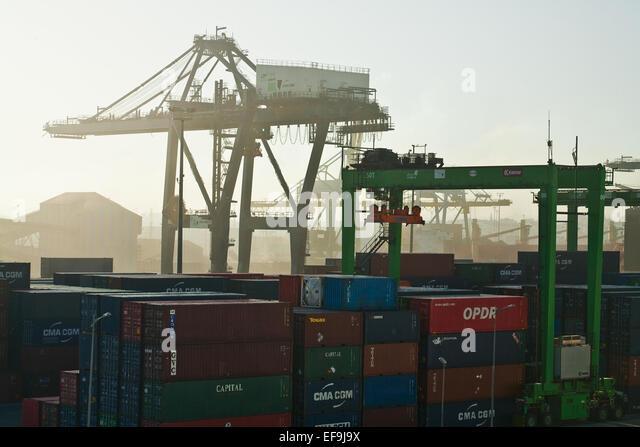 Casablanca dockyards at dawn - Stock Image