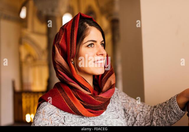 Young woman wearing headscarf, Istanbul, Turkey - Stock Image