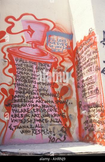 Gang Graffiti after riots South Central Los Angeles California - Stock Image