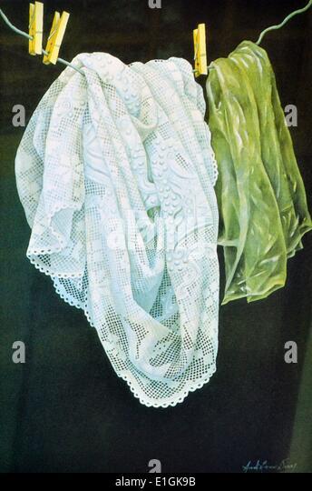 Arceli Dans, watercolour, 1992, 'Lace' - Stock Image