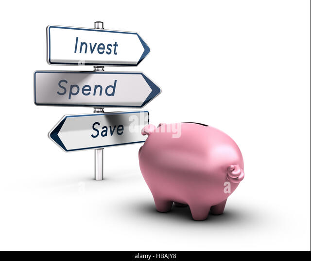 3D illustration of a piggy bank looking at road signs with the words invest, spend or save, Financial concept over - Stock Image