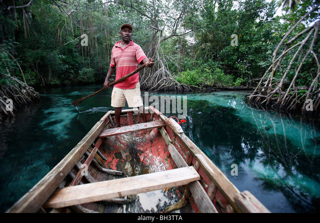 boatman, Rincon beach, Samana peninsula, Dominican Republic - Stock Image