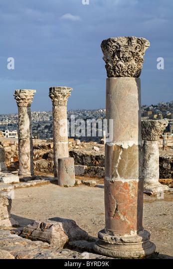 Ruins of the Byzantine Church at the Citadel, Amman, Jordan - Stock Image