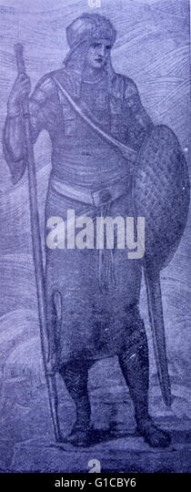 Engraving depicting a chief deity of Norse Mythology - Stock Image