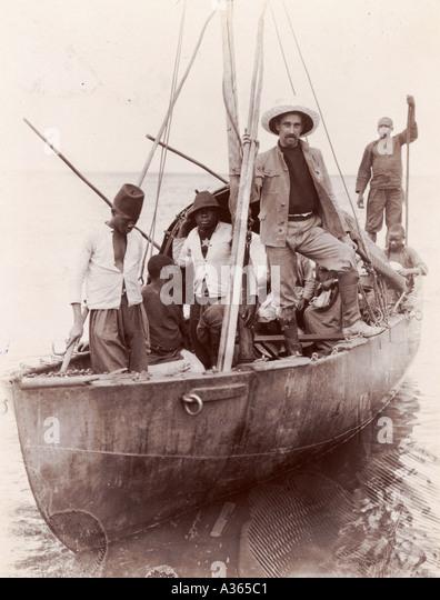 Belgian Steel Boat on Lake Albert Edward - Stock-Bilder