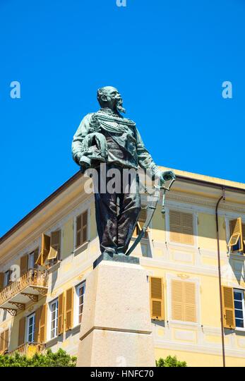 the monument to Vittorio Emanuele II in Santa Margherita Ligure. - Stock Image