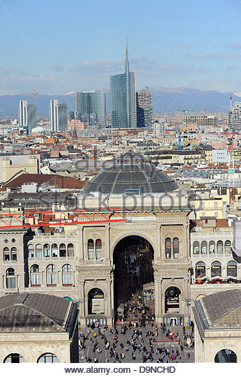 unicredit towers,torre hines cesar pelli,galleria vittorio emanuele,milan,lombardia,italy - Stock Image