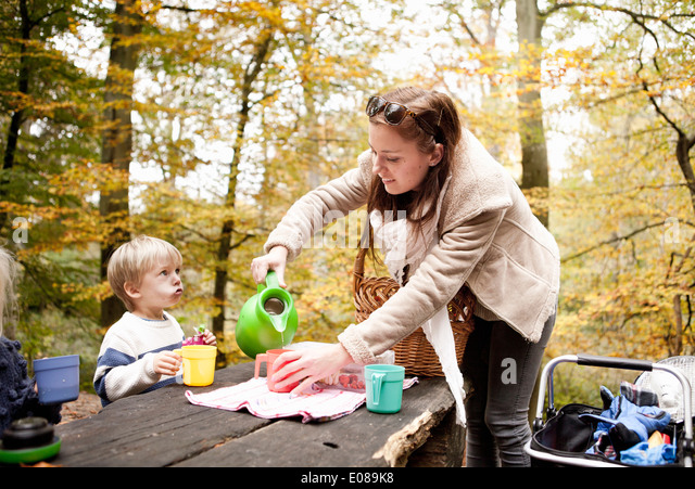 Mother pouring drink for son in picnic at forest - Stock-Bilder