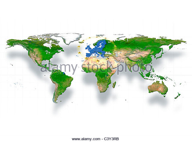 map, world, europe centered, physical, white, political, EU stars - Stock Image