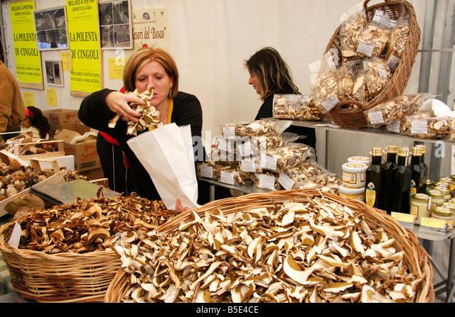 Mushroom festival in Le Marche Italy. - Stock Image