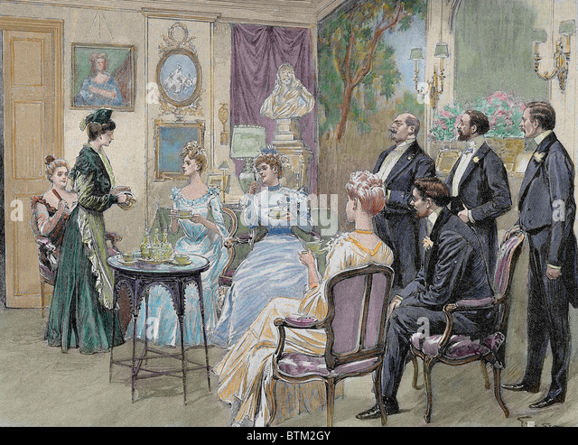 Meeting of aristocratic families in the living room. Colored engraving by George Scott, 1892. - Stock Image