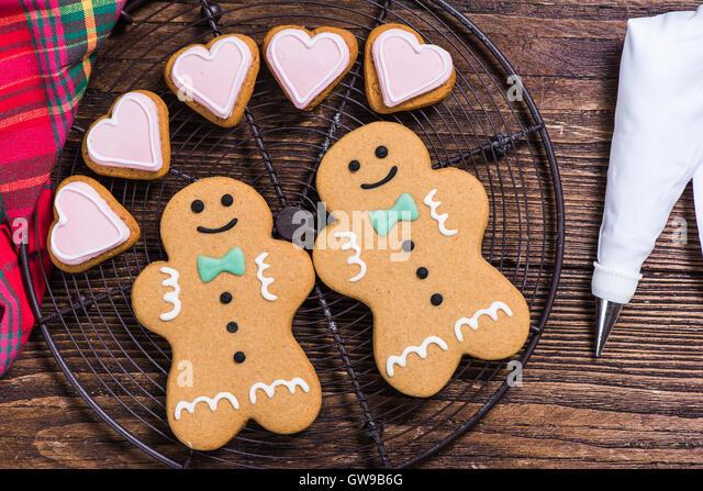 Christmas homosexual gay couple, gingerbread cookies - Stock-Bilder