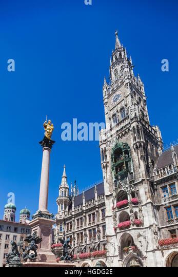 Germany, Bavaria, Munich, Marienplatz, City Hall - Stock Image