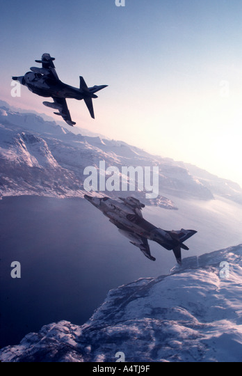 RAF Harriers in snow camouflage - Stock Image