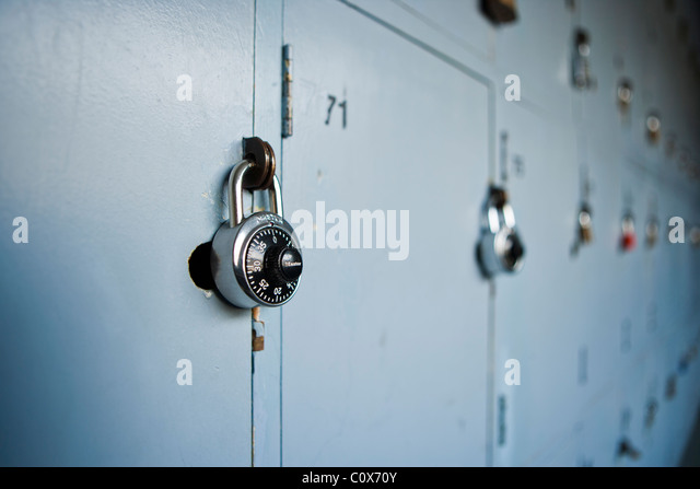 School lockers with padlocks. - Stock-Bilder