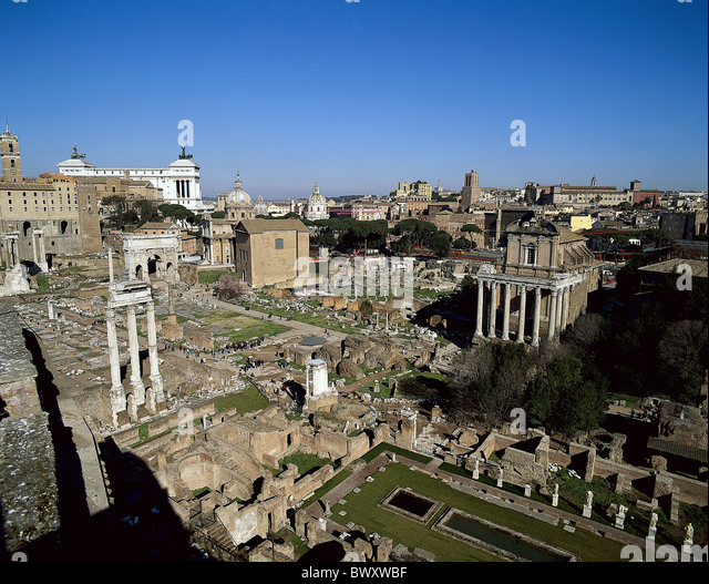 Ancient world antiquity forum Romanum Italy Europe Rome overview Roman - Stock Image