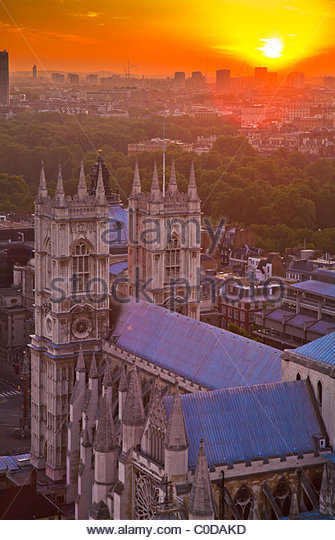 Westminster Abbey seen from Victoria Tower, Palace of Westminster, London, UK - Stock Image