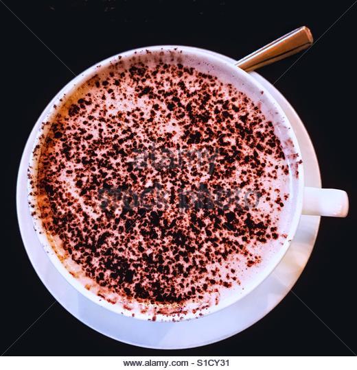 Hot chocolate with Irish cream liqueur - Stock Image
