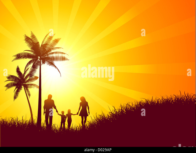 Summer landscape with silhouette of a family walking - Stock-Bilder