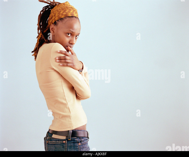 Shy woman - Stock Image