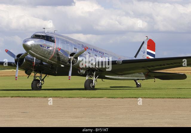 Douglas C-53D Skytrooper ( DC-3A Dakota ) on the flightline at Duxford airfield - Stock Image
