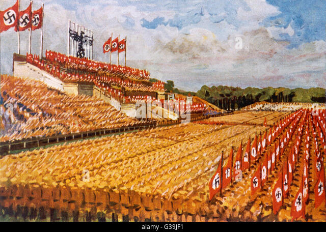 Artist's impression of the Zeppelin-field during a Nuremberg Rally.        Date: 1935 - Stock Image