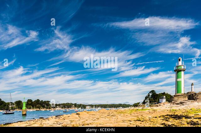 Lighthouse and river at Benodet, Brittany, France - Stock Image