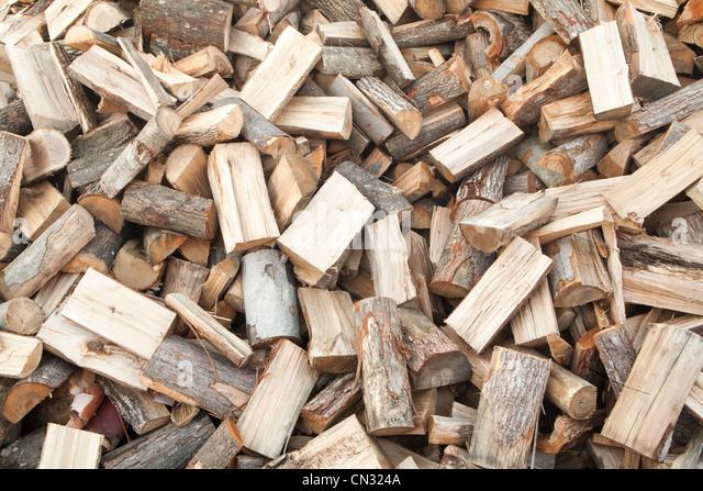 Pile of chopped wood - Stock Image