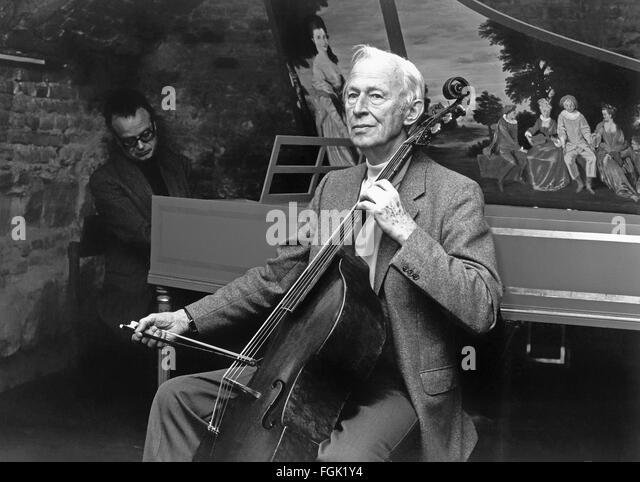August Wenzinger, 1905-1996, a cellist, viol player, conductor, teacher, and music scholar from Basel, Switzerland, - Stock-Bilder