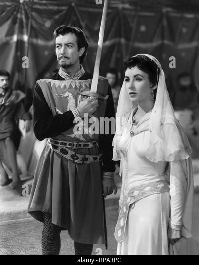 ROBERT TAYLOR & ELIZABETH TAYLOR IVANHOE (1952) - Stock-Bilder