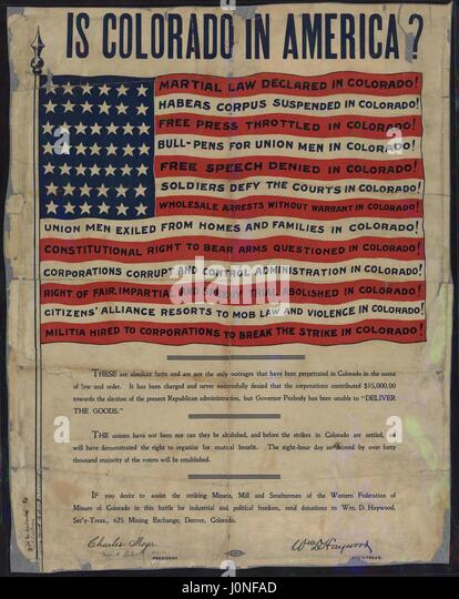 Radical labor poster entitled Is Colorado in America, listing perceived violations of human rights in Colorado, - Stock Image