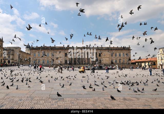 National Capitol, Capitolio Nacional and pigeons, Bolívar Square, Plaza de Bolívar, Bogotá, Colombia, - Stock Image