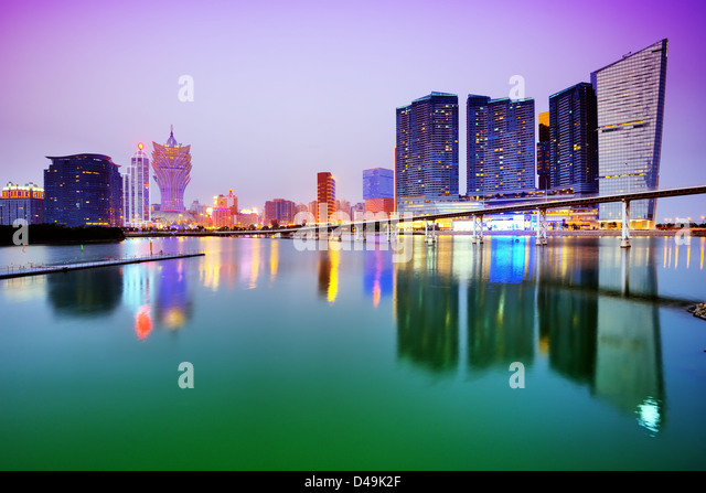 Resorts and casinos along the skyline of Macau, China. - Stock Image