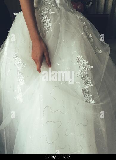 Wedding dress detail - Stock Image