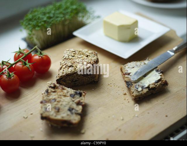 Germany, Hamburg, Food on chopping board - Stock Image