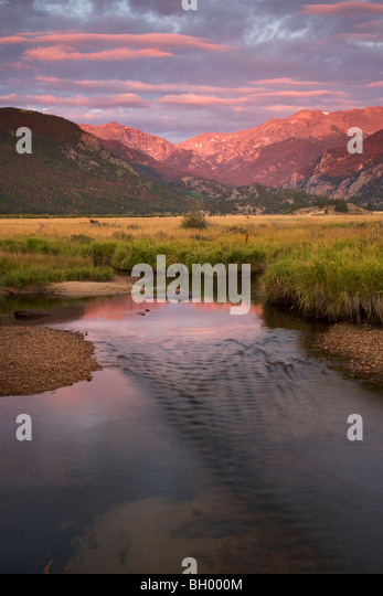 Sunrise at Moraine Park, Rocky Mountain National Park, Colorado. - Stock Image