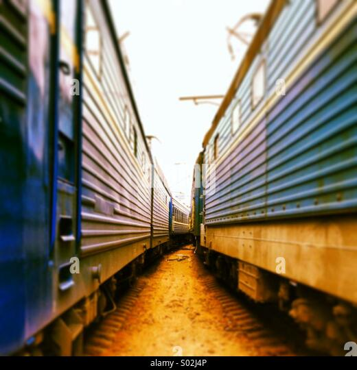 Between two trains - Stock Image