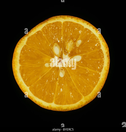 Cut section of citrus fruit orange variety Succari - Stock Image