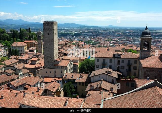 The skyline of Bergamo (including the Torre del Gombito) facing east from the Civic Tower, Citta Alta, Bergamo, - Stock Image