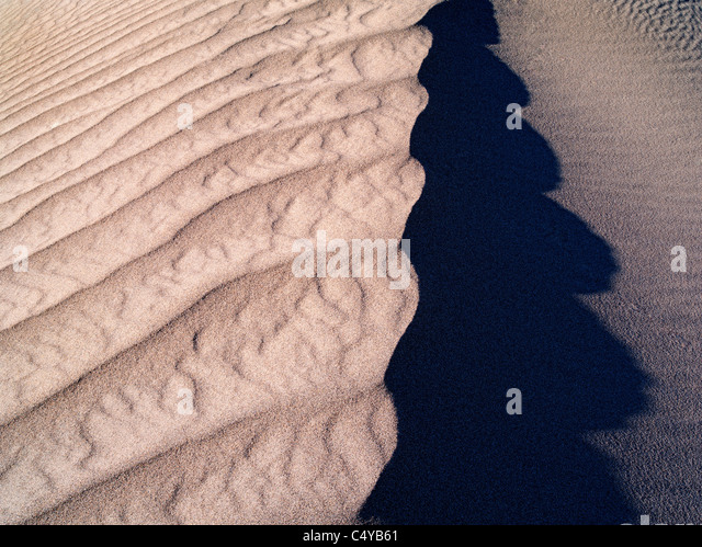 Patterns in sand after intense wind storm. Death Valley National Park, California - Stock Image