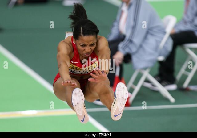 Portland, Oregon, USA  March 18, 2016 - KENDELL WILLIAMS jumps in the Pentathlon at the 2016 IAAF World Indoor Track - Stock-Bilder