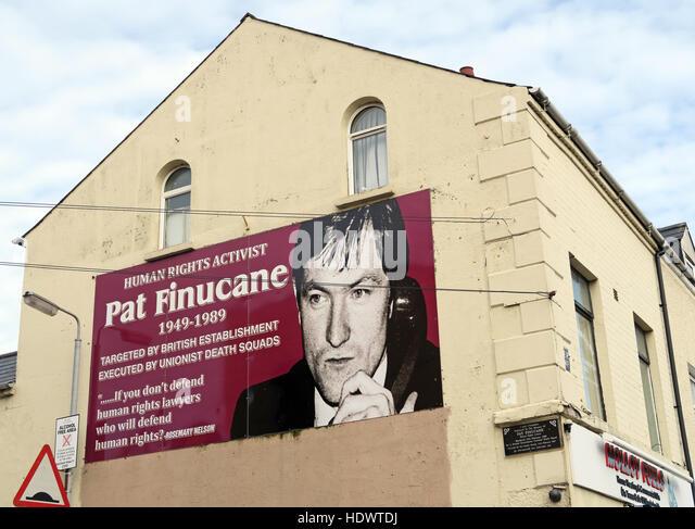 Belfast Falls Rd Republican Human Rights activist,Pat Finucane - Stock Image