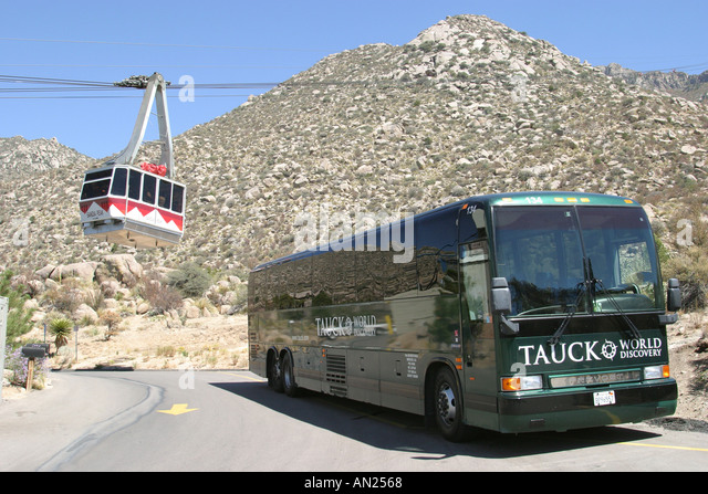 Albuquerque New Mexico Sandia Peak Aerial Tramway world's longest tour bus near base station W - Stock Image